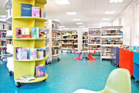 Children's library inside the Broughton Hub