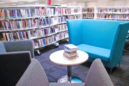 The library inside the Broughton Hub