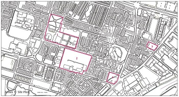 Map showing four development sites in Ordsall