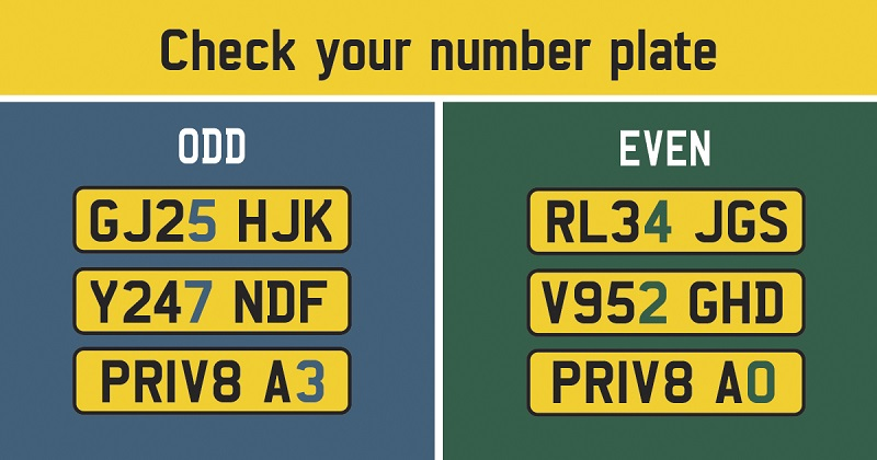 Check your number plate graphic giving examples for odd and even numbers. Odd numbers: GJ25 HJK (odd number is 5), Y247 NDF (odd number is 7), PRIV8 A3 (odd number is 3). Even numbers: RL34 JGS (even number is 4), V952 GHD (even number is 2), PRIV8 A0 (even number is 0)
